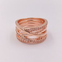Wholesale Red Rose Wedding Gift - Rose Gold Plated & 925 Sterling Silver Ring Rose Entwined European Pandora Style Jewelry Charm Ring Gift 180919CZ