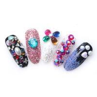 Wholesale Glitter Diamond Nail Designs - New Nail Art Decorations Resin Crystal Diamonds 3D Nail Art Glitters DIY Wheel Sharp Back Design Decorations Manicure 2017