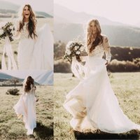 Wholesale Cheap Beach Lace Wedding Dress With Long Sleeves Jewel Neck A Line Applique Chiffon Boho Bridal Gowns