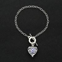 Wholesale Charm Sound - Fashion Peach Heart Perfume Essential Oil Diffuser Bracelet Aromatherapy Sound ball Locket Bracelets for Women jewelry with 6pcs Felt Pads