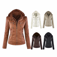 Wholesale Women Hoodies Zip Up Jacket - Wholesale free shipping Womens New Faux Twinset Detachable Hat Autumn Winter Faux Leather Slim Jacket Hoodie Hooded Zip-up Pockets Outerwear