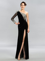 Wholesale One Sleeve Sequin - 2018 sexy high side split ruched velvet dresses evening wear beaded sequins one long sleeve evening gowns