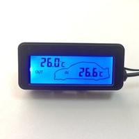 digital meters wholesale-12V Car Inside Outside Temperature Meter Mini LCD Digital Car Thermometer Red Backlight Vehicles Termometro 1.5M Cable Sensor