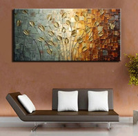 Wholesale Popular Paintings - Pure Hand painted oil painting on canvas modern Gold Flowerdecorative wall pictures modern popular home decoration gift