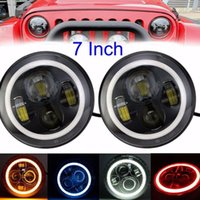Wholesale Led Offroad Round - 7 Inch Led Headligt H4 H13 Round Shape 7'' Headlights With White Amber Blue Red Angel Eyes for Offroad Jeep TJ Wrangler JK