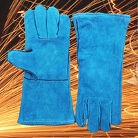 7 Couleurs Le plus récent Stretch Long Type Antiwear Cow Leather Safety Protective Welding Work Gants for Building Site Welder Soldering