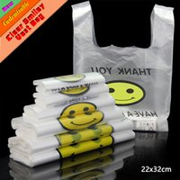 Wholesale Pc Supermarket - 50 Pcs 22x32cm 0.03mm Food Grade Transparent PE Plastic Shopping Bag   Vest Shopping Bags   Supermarket Retailing Bags