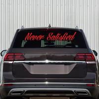 ingrosso adesivo parabrezza per honda-Auto stying Never Satisfied sticker JDM honda auto da corsa camion finestrino parabrezza decalcomania posteriore Adesivo per Windows Jdm