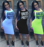 Wholesale Sexy Black Burst - 2017 hot burst multi-color letters sexy tight sleeves dress sleeveless casual dress female casual sexy dress