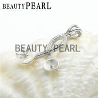 Wholesale Wholesale Shell Jewellery - Bulk of 3 Pieces Zircon Paved White Shell Flower Pendant Blank Jewellery 925 Sterling Silver DIY Pendant