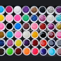 Wholesale Pearlescent Gel - Wholesale-48 Mix color vu gel nail polish Pure+ Glitter Paillette + Glitter + pearlescent nacre colors nail art uv gel set gel kit