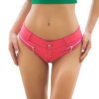 Wholesale High Waist White Denim Shorts - denim shorts 2017 New Summer High Cut Sexy Jean Denim Booty Shorts Low Rise Waist Micro Mini Short Hot Pant Erotic Culb Wear Bikini Bottom