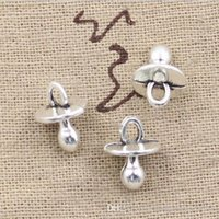 Wholesale Babies Silver Bracelets - Wholesale 100pcs baby pacifier binky teether charms 13*10mm Antique pendant fit,Vintage Tibetan Silver,DIY for bracelet necklace CP229
