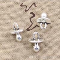 Wholesale Necklace Pacifier - Wholesale 100pcs baby pacifier binky teether charms 13*10mm Antique pendant fit,Vintage Tibetan Silver,DIY for bracelet necklace CP229