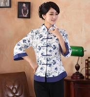 top estilo chino tradicional al por mayor-Shanghai Story Primavera estilo chino Top Blusas tradicionales cheongsam de las mujeres chinas Top porcelana azul y blanca Blusas de lino