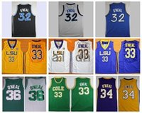 Wholesale Tiger Sleeveless Shirt - Retro Throwback The Big Shaq Shaquille O'Neal Basketball Jerseys LSU Tigers College Stitched Jerseys Cole High School Green O Neal Shirts