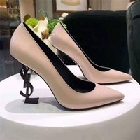 Wholesale Designer Ladies High Heel Shoes - Black Patent leather letter Pumps 10cm Women Dress Wedding Shoes brand Unique Designer Pointed toe Slip on Saint T Show Ladies Pumps Size 42