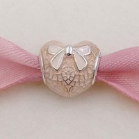 Wholesale Lace Bracelet Charm - Valentines Day 925 Silver Beads Pink Bow & Lace Heart Charm Fits European Pandora Style Jewelry Bracelets 792044ENMX Love heart Shaped Gifts