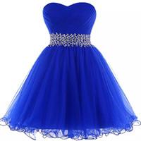 organza real venda por atacado-Organza vestido de baile vestidos de baile azul Royal 2019 elegante frisado curto vestidos de baile Lace Up vestido de festa