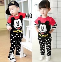 Wholesale Korean Boys Clothes - 2017 hot sale Kids Clothing sets Mickey Mouse baby boy cartoon clothes children Korean style Spring autumn clothes suit