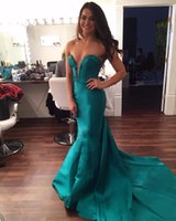 Wholesale Orange Ruffled Fishtail Dresses - Sexy Satin Mermaid Evening Dresses With Sweetheart Turquoise Green 2017 Fishtail Elegant Strapless Court Train Lace Up Long Party Prom Dress