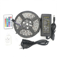 Wholesale Eu Plug Led Strip - Led Strip RGB 5M SMD 5050 60LED Meter Flexible Waterproof IP65 24Key IR Remote Led Controller 5A Power supply US EU UK AU plug for christmas
