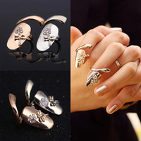 Wholesale Teens Wholesale Jewelry - Delicate 18K Gold Silver Plated Ring for Women Finger nail Rings With Crystal Dragonfly Fashion Punk Rings for teen girls Fine Jewelry