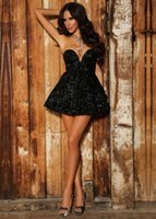 Wholesale Sparkly Short Prom - 2017 Sparkly Little Black Sequin Crystal Short Prom Dreses With Sweetheart Neck Zipper Back Rhinestones Cocktail Dress Cheap Custom