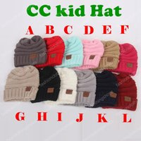 Wholesale Kids Fedora Hats Wholesale - New Winter Knitted Woolen CC Trendy kid Hat Label Fedora Luxury Cable Slouchy kid Hats Fashion Beanies Thick Warm Hat Outdoors