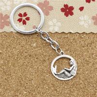Wholesale Mermaid Key Chains - Fashion Diameter 30mm Chromeplate Key Ring Metal Key Chain Jewelry Antique Silver Plated circle mermaid 23mm Pendant