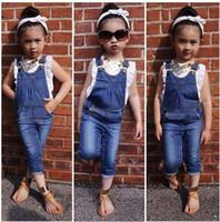 bebek yelek seti toptan satış-Bebek Kız Giyim Seti 2 ADET Yelek Üstleri Gömlek + Kot Pantolon Butik Çocuk Giyim Yürüyor Kıyafet Bebek Suit