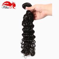 onda profunda de pelo virgen pc al por mayor-Hannah Hair product Brazilian Virgin Hair Deep Wave 100 g / pc Sin procesar El cabello humano brasileño teje los paquetes brasileños