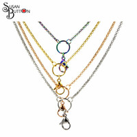 Wholesale Custom Necklace Wholesale - Mixed 80cm 32 inches 2.3mm 316L Stainless steel custom rolo chain necklace floating charm lanyard pendant locket chains Necklace Jewelry