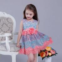 Wholesale Dress Belts Jumper - Kids Jumper Skirt 2016 Summer Baby Girl Multicolor Fashion Dress Round Neck Lace Dress Rose Belt Jumper Skirt Prince Dresses 5Set lot Q0470