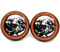 bronze ohrring bolzen großhandel-10pairs / lot Bronzeton Erdgebundene Mutter Eearrings Planetensymbol Glasfotoohrringe