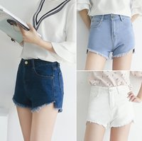Wholesale Denim Tie Dye Shorts - New arrival Denim shorts female high waist white cowboy wide leg summer new shorts JW047 Women's Jeans