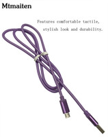 Wholesale Purple Fish Nets - Mtmaiten 1m Cable Micro USB Cable Metal Head Fish Net Braided Data Sync Nylon Charger cable for Samsung S3 S4 note 2 for htc blackberry