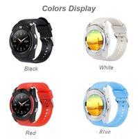 android mikro-sim-karte großhandel-V8 Smart Watch Bluetooth Uhren Android mit 0.3M Kamera MTK6261D Smartwatch für Android-Telefon Micro Sim TF-Karte mit Kleinpaket