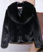 Wholesale Short Hair Mink Fur Coat - Warm autumn and winter women fur coat black large fur collar long-sleeve mink hair design short outerwear plus sizes S-5XL