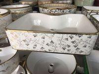Wholesale Single Sink Cabinet - Oval shape bathroom basin Super beautiful design plating electroplated ceramic wash basin solid wood bathroom cabinet Artistic Basin