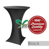 100%polyester black cocktail table - Black Color Lycra Spandex Table Cloth Cocktail Table Cover For Wedding Decoration