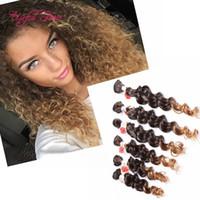 Wholesale Deep Hair Braiding - 220G deep wave bundles brazilian kinky curly hair weaves SEW IN HAIR EXTENSIONS Jerry curly,synthetic braiding,burgundy color weave bundles