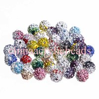 Wholesale Disco Ball Tone - 100 PCS Two-Tone Crystal Rhinestones Pave Clay Round Disco Ball Spacer Beads