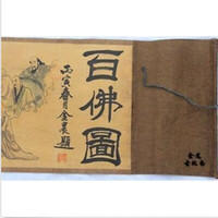 Wholesale Picture Blocks - Chinese Ancient picture silk paper hundred Buddha Figure Scroll painting