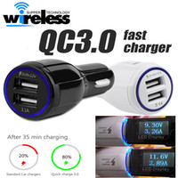Alta qualidade dual USB LED Fast Car Charger 5V 9V 12V para samsung s7 edge S8 plus note 8 real fast car charger