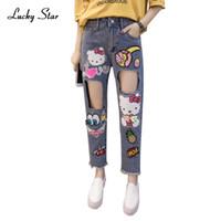 Wholesale Harem Jeans For Girls - Wholesale- Lovely Girl Cartoon Jeans Denim Harem Pants Sequined Jean Women Cartoon Painted Hole Jean Feminina Boyfriend Jeans For WomenA157