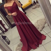 Wholesale Clubbing Bare Shoulder Dress - Chic Burgundy Prom Evening Dresses 2016 A-Line Off-Shoulder Bare Back Ruffled Pleated Sweep Train Long Formal Party Gowns Bridesmaid Dress