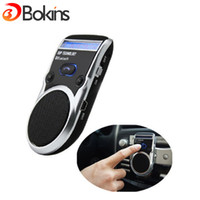 Vente en gros sans fil Bluetooth Handsfree Car Kit solaire Powered Speakerphone Mains libres Stereo Bass pour Smart Phone China Post Free Ship