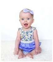 Wholesale Wholesale Mosaic Clothes - Girls floral mosaic Rompers New sleeveless coat 0-3 years old baby crawling summer clothes 2017 Summer new kid233