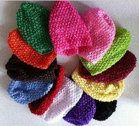 "Wholesale Hat Waffle Beanie Crochet - Cheap Wholesale Colorful Baby 6"" Crochet Beanie Hats Infant Handmade Knit Waffle hat String Wheat Caps Newborn cap"
